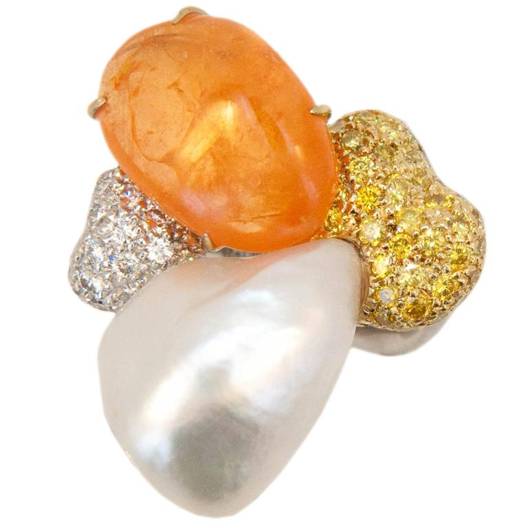 Laura Munder Mandarin Garnet Keshi Pearl White Yellow Diamond White Gold Ring 1
