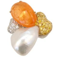 Laura Munder Mandarin Garnet Keshi Pearl White Yellow Diamond White Gold Ring