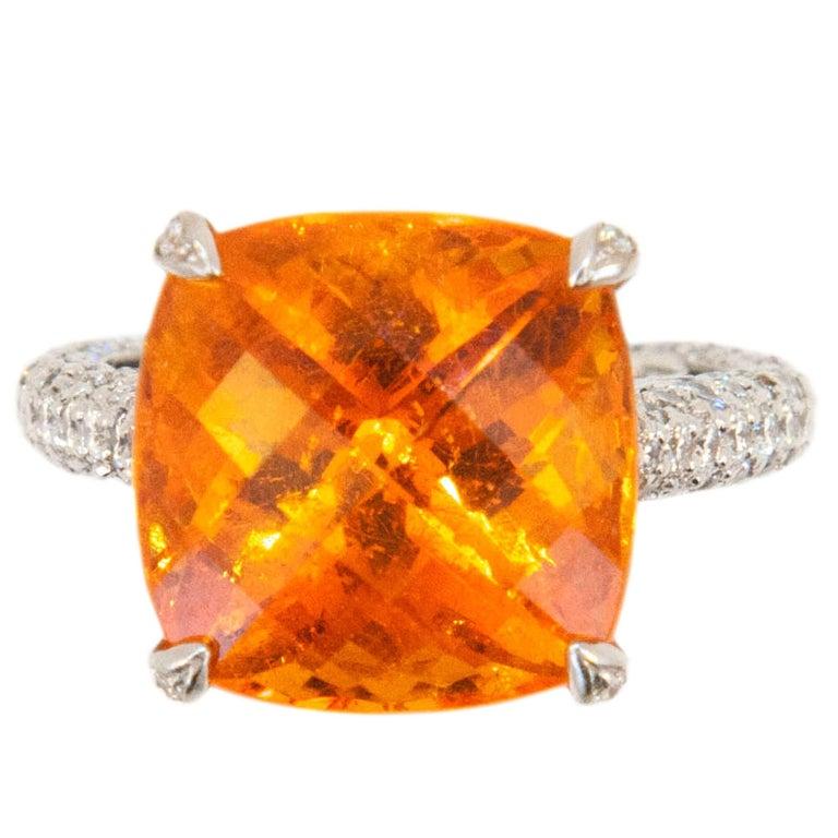 Laura Munder Mandarin Garnet Diamond White Gold Ring For Sale