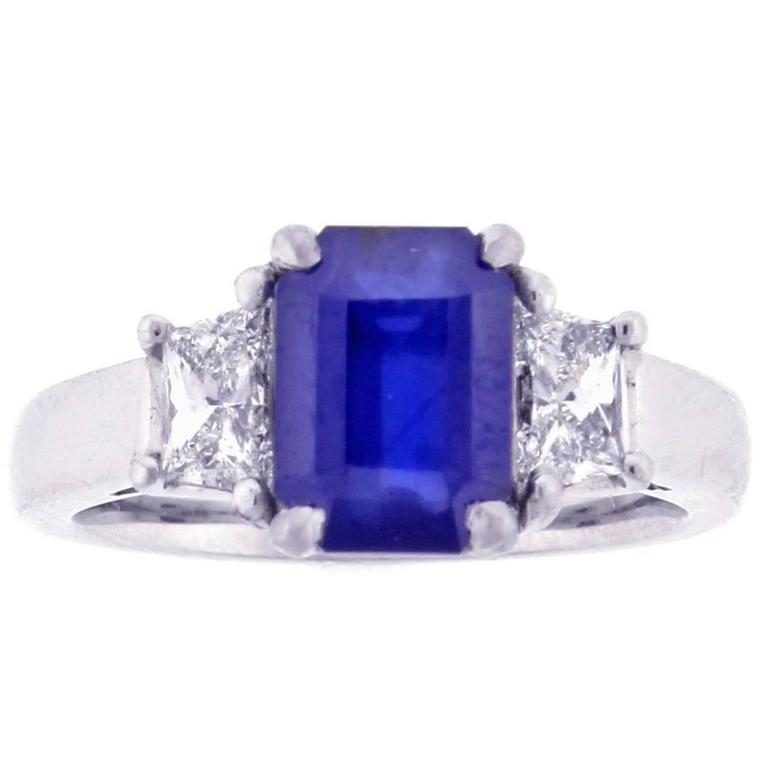 Natural 2.41 Carat Burma No-Heat AGL Sapphire Diamond Platinum Ring