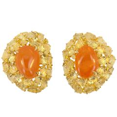 Laura Munder Mandarin Garnet Yellow Sapphire Yellow Diamond Yellow Gold Earrings