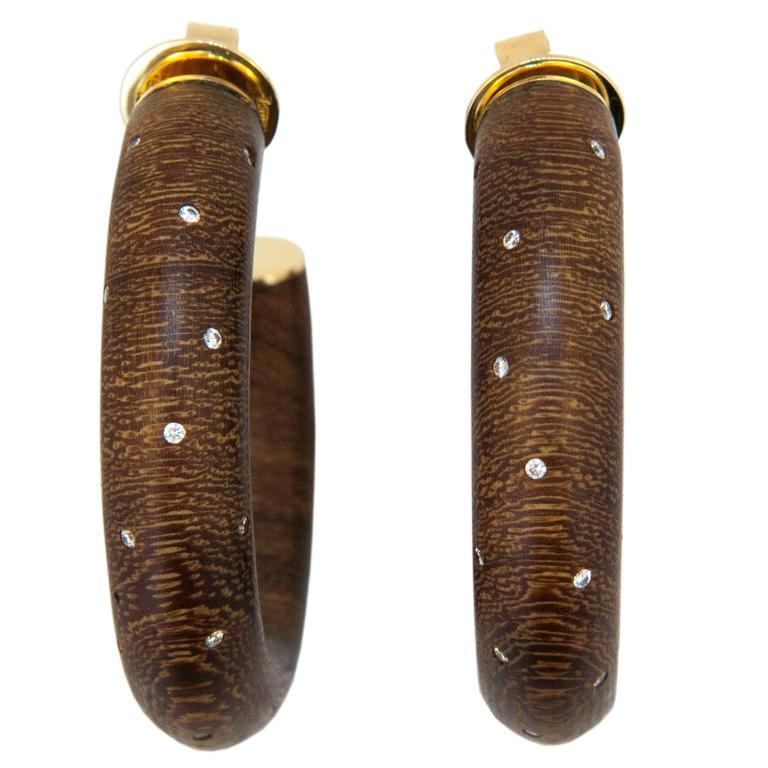Laura Munder Wood Diamond Yellow Gold Hoop Earrings