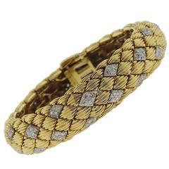 David Webb Diamond Gold Classic Bracelet