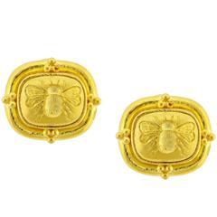 Elizabeth Locke Bumble Bee Gold Intaglio Earrings