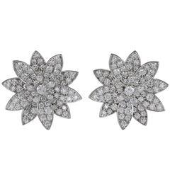 Van Cleef & Arpels Diamond White Gold Lotus Earrings