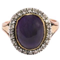 Antique Georgian Amethyst Cabochon Diamond Cluster Ring