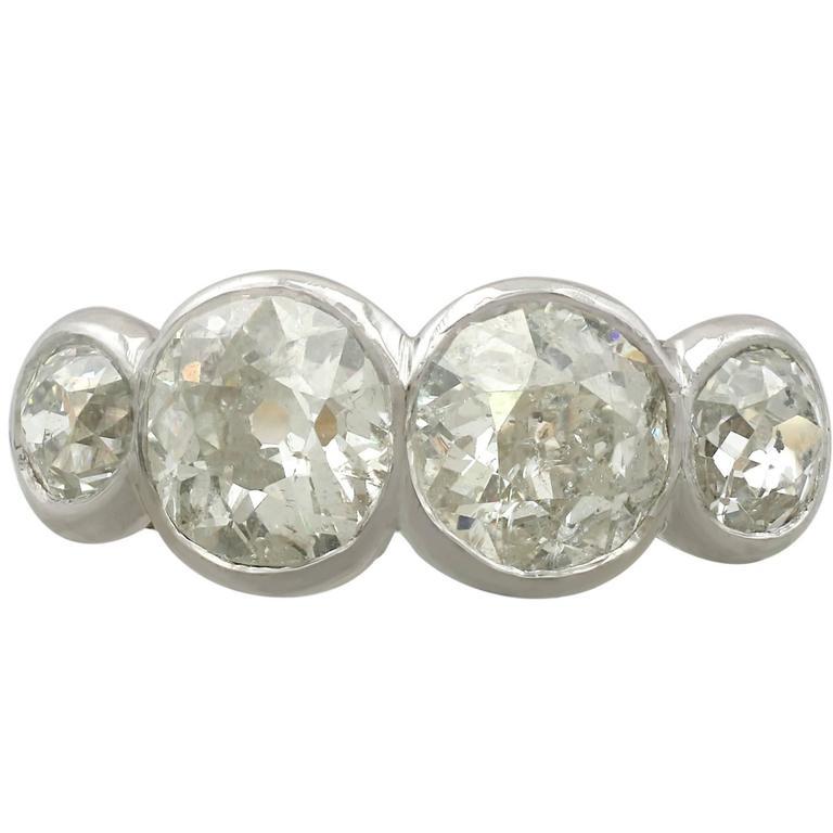 1920s Antique 4.60 Carat Diamond Yellow Gold Platinum Set Cocktail Ring