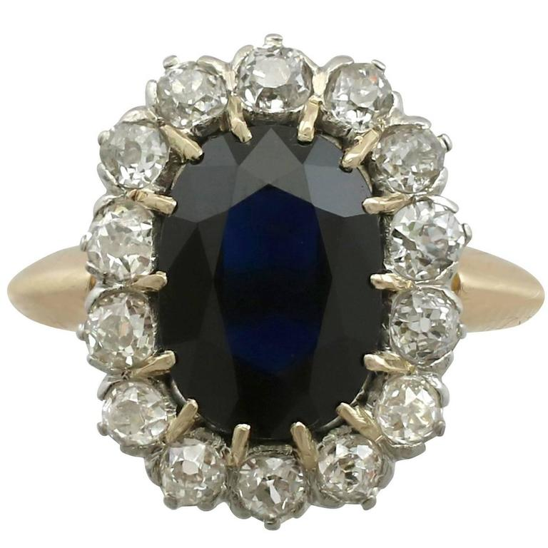 1920s Antique French 2.98 Carat Sapphire and Diamond Yellow Gold Cluster