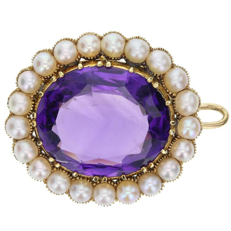 Antique Victorian Amethyst Seed Pearl Brooch Pendant