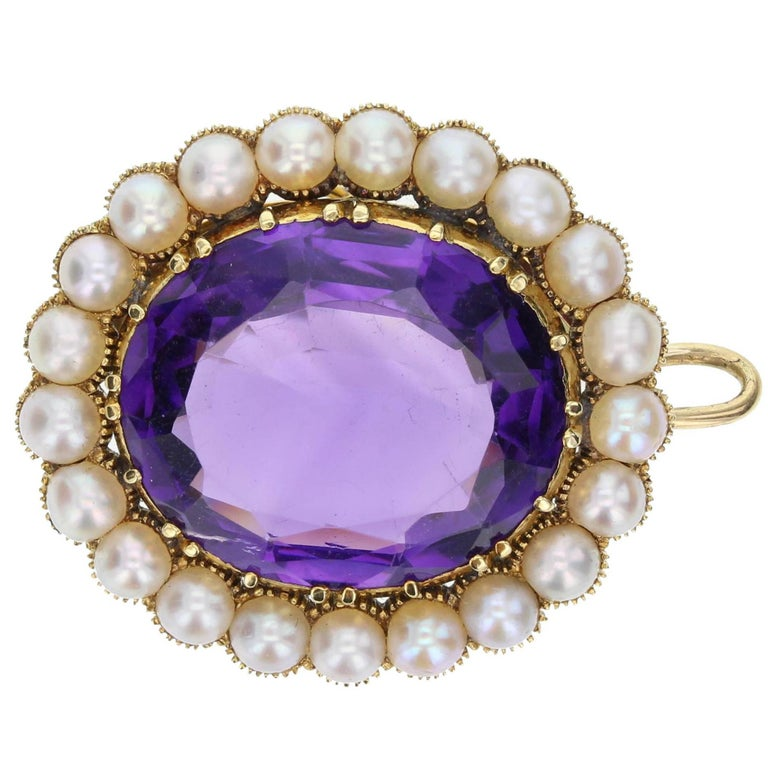 Antique Victorian Amethyst Seed Pearl Brooch Pendant For Sale