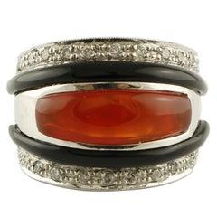 Luise Gold Diamond Onyx Carnelian Band Ring