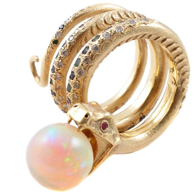 Opal Ring With Emerald And Rubies