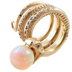 Opal Diamond Emerald Sapphire Ruby Yellow Gold Snake Ring