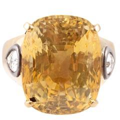 9.00 Carat Yellow Sapphire Diamond Yellow Gold Ring