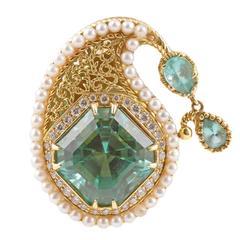 Cynthia Bach 23.00 Carat Blue Tourmaline Diamond Pearl Ring