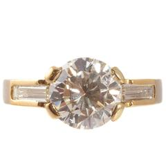 3.11 Carat Diamond Yellow Gold Ring