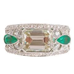 4.00 Carat Diamonds Emeralds Platinum Temple Ring