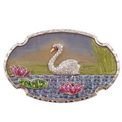 Art Deco Diamond  Gemstone Enamel Platinum Swan Pin
