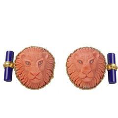 Mediterranean Coral Lion Lapis Diamond Gold Cufflinks