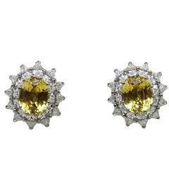 6.75 Carat Yellow Sapphires Diamonds White Gold Earrings