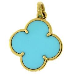 Van Cleef & Arpels Turquoise Magic Alhambra Pendant in 18 Karat Yellow Gold