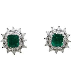 3.34 Carat Colombian Emerald Pear Shaped Diamonds White Gold Earrings