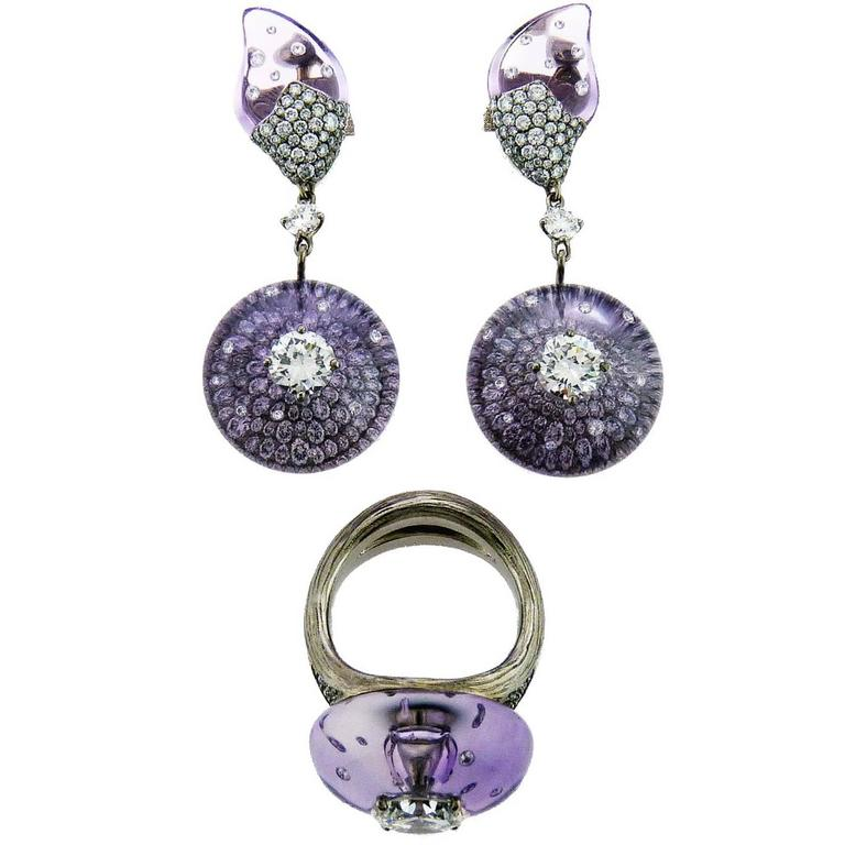 Wallace Chan Cabochon Amethyst Diamond Titanium Ring and Earrings Set