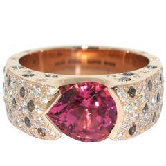 Lizunova Pink Tourmaline Sapphire Diamond Rose Gold Ring