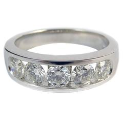Diamond Eternity Ring, Five Stone 1.03 Carat, 18 Carat White Gold, Pre-Owned