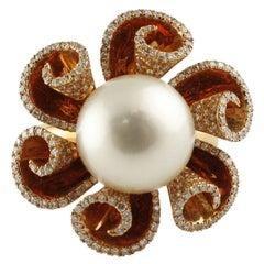 Gold Diamond Pearl Ring