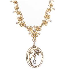 Edwardian 15 Carat Seed Pearls Aquamarine Gold Necklace