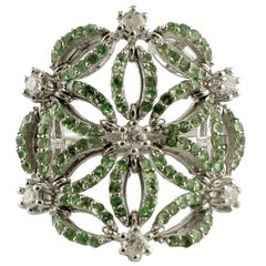 Gold Diamond Tsavorite Ring