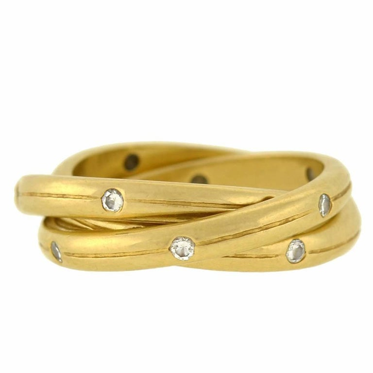 Tiffany And Co Three Band Rolling Diamond Ring For Sale At 1stdibs