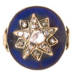 Georgian Enamel Diamond Gold Ring