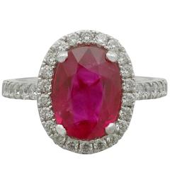 1990s 3.75 Carat Ruby Diamond White Gold Cluster Ring