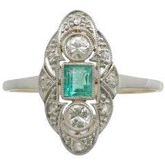 1940s Emerald Diamond Yellow Gold Marquise Ring