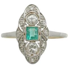 1940s Emerald Diamond Yellow Gold Marquise Ring