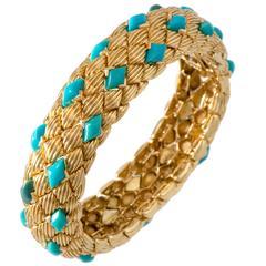 David Webb Turquoise Gold Flexible Bracelet