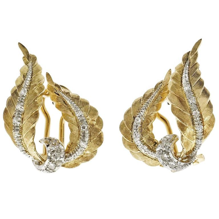 Spitzer & Furman Diamond Gold Swirl Ribbon Spray Earrings