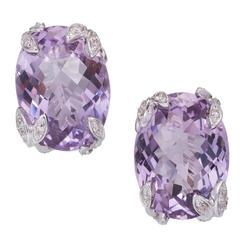 Purple Oval Amethyst Diamond Gold Earrings