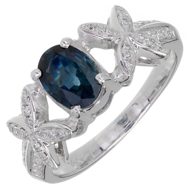 1.00 Carat Blue Sapphire Diamond White Gold X Design Engagement Ring