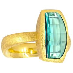 Devta Doolan One of a Kind Blue Green Tourmaline Gold Vertical Grid Ring