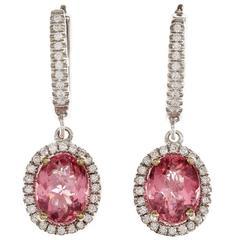 GIA Certified Pink Tourmaline Diamond Halo Gold Dangle Earrings