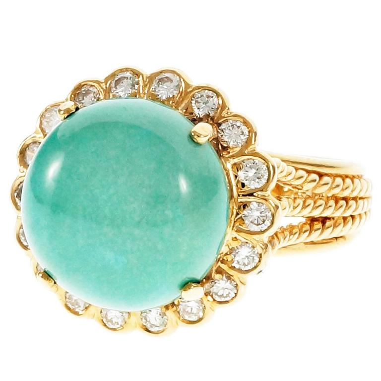 Turquoise Dome Diamond Yellow Gold Ring