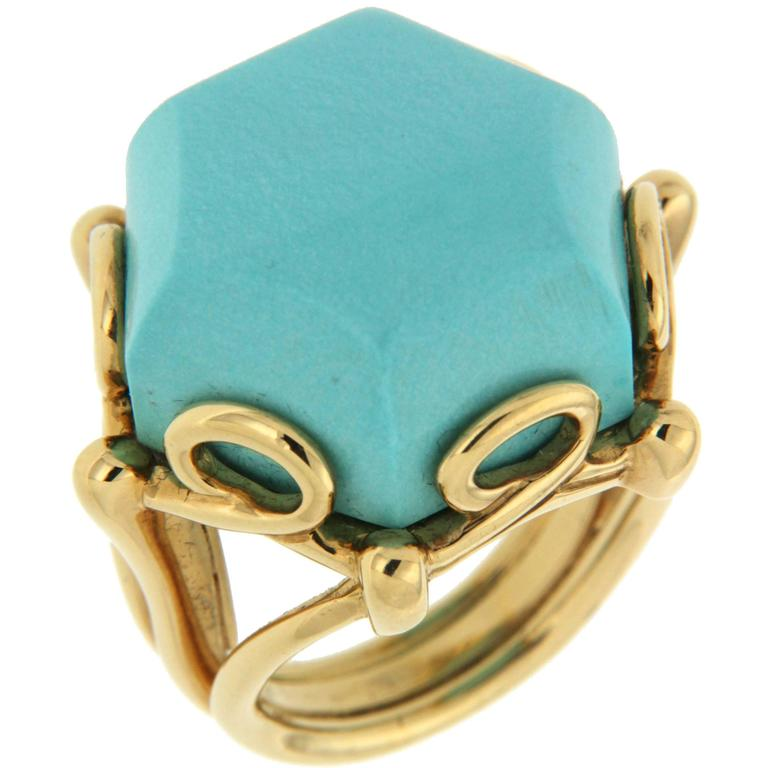 Rare Hexagon Geometric Turquoise Gold Ring 1