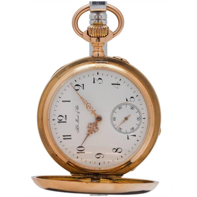 Henry Moser Yellow Gold Hunting Case Pocket Watch, circa 1900 1
