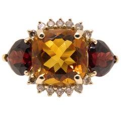 Berca Natural Madeira Quartz Red Spessartite Champagne Diamond Ring