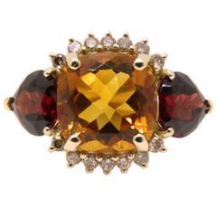 Fabulous Natural Madeira Quartz Red Spessartite Champagne Diamond Ring