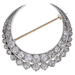 Antique Edwardian Old Cut Diamond Gold Crescent Brooch