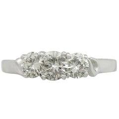 Vintage 1990s Diamond and White Gold Three Stone Ring